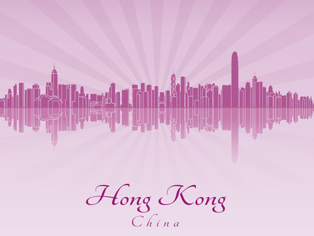 Hong Kong skyline in purple radiant orchid in editable vector file Vector