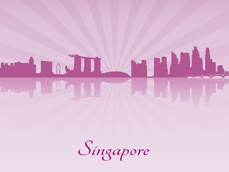 Singapore skyline in purple radiant orchid in editable vector file