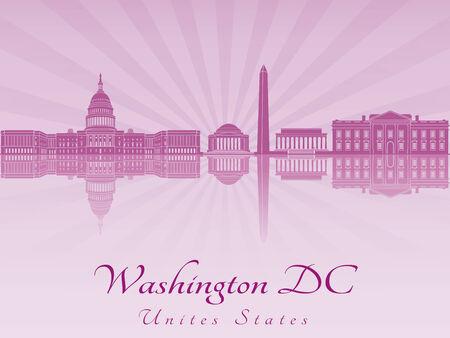 Washington DC skyline in purple radiant orchid in editable vector file Vector