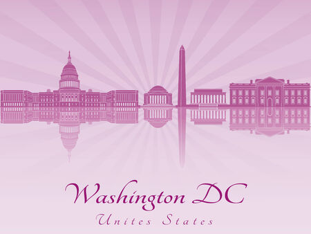washington dc: Washington DC skyline in purple radiant orchid in editable vector file Illustration