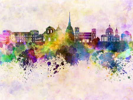 turin: Turin skyline in watercolor background