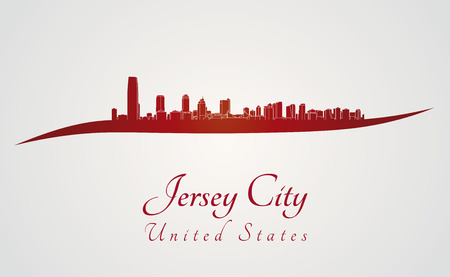 jersey city: Jersey City skyline in red and gray background in editable vector file Illustration