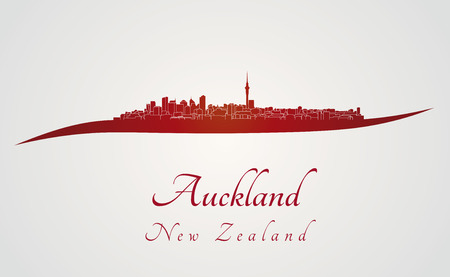 Auckland skyline in red and gray background in editable vector file Ilustracja