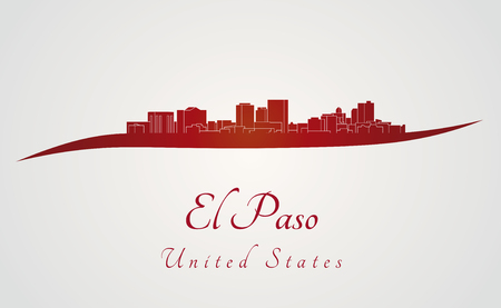El Paso skyline in red and gray background in editable vector file Vector