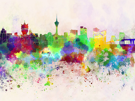 macau: Macau skyline in watercolor background