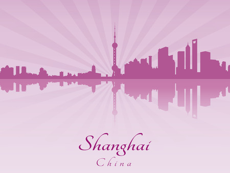 shanghai skyline: Shanghai skyline in purple radiant orchid in editable vector file