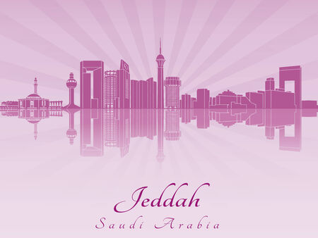 Jeddah skyline in purple radiant orchid in editable vector file Vector