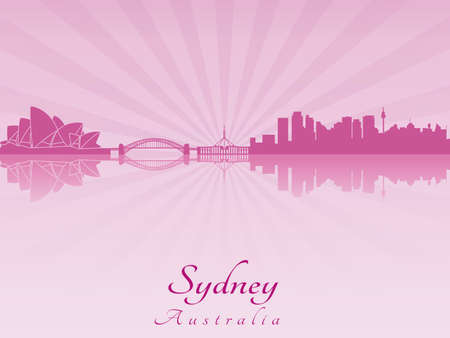 Sydney skyline in purple radiant orchid in editable vector file Vector
