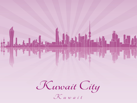 Kuwait City skyline in purple radiant orchid in editable vector file Vector