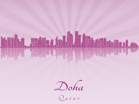 doha: Doha skyline in purple radiant orchid in editable vector file Illustration