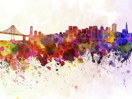 san francisco: San Francisco skyline in watercolor background Stock Photo