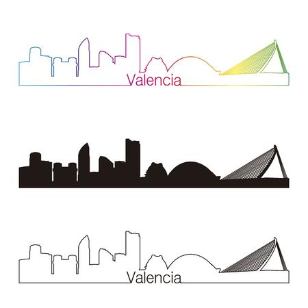 valencia: Valencia skyline linear style with rainbow in editable vector file