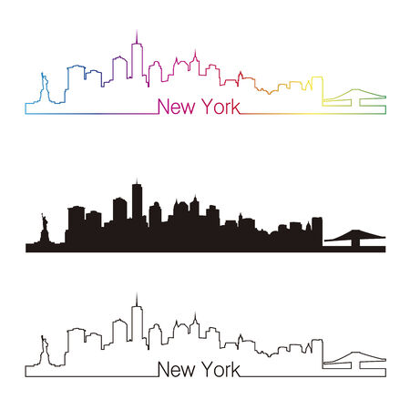 new york skyline: New York skyline linear style with rainbow in editable vector file