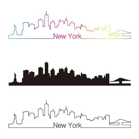 new york skyline: New York skyline linear style with rainbow in editable vector file
