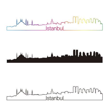 Istanbul skyline linear style with rainbow in editable vector file Illustration