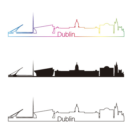 Dublin skyline linear style with rainbow in editable vector file Vector