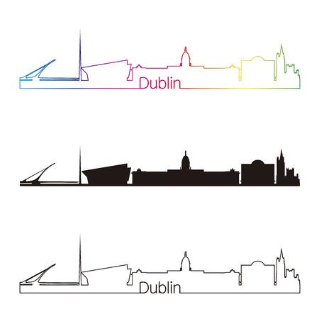dublin: Dublin skyline linear style with rainbow in editable vector file