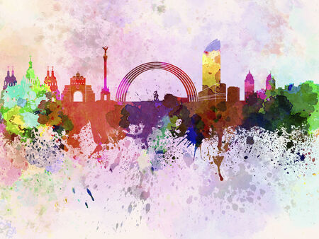 Kiev skyline in watercolor background Фото со стока