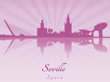 Seville skyline in purple radiant orchid in editable vector file Vector