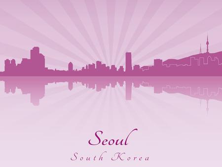 seoul: S�oul horizon en violet orchid�e rayonnante dans le fichier vectoriel �ditable Illustration