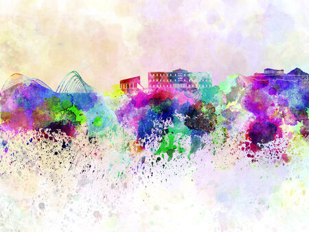 Athens skyline in watercolor background Stock Photo