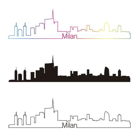 mil�n: Milan skyline estilo linear con el arco iris en el archivo vectorial editable Vectores