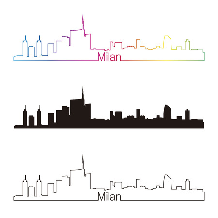 Milan skyline linear style with rainbow in editable vector file Illustration