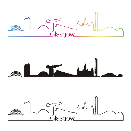 Glasgow skyline linear style with rainbow in editable vector file Vector