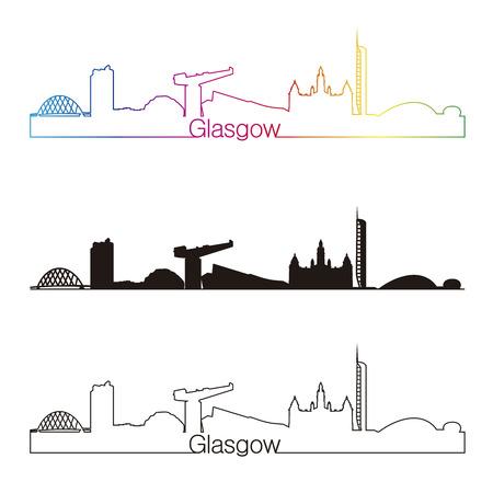 glasgow: Glasgow skyline linear style with rainbow in editable vector file