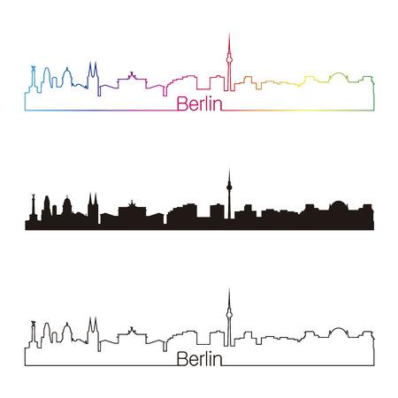 편집 가능한 벡터 파일에 무지개와 함께 베를린 스카이 라인의 선형 스타일