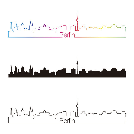 Berlin skyline linear style with rainbow in editable vector file