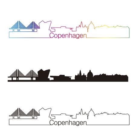 Copenhagen skyline linear style with rainbow in editable vector file 向量圖像
