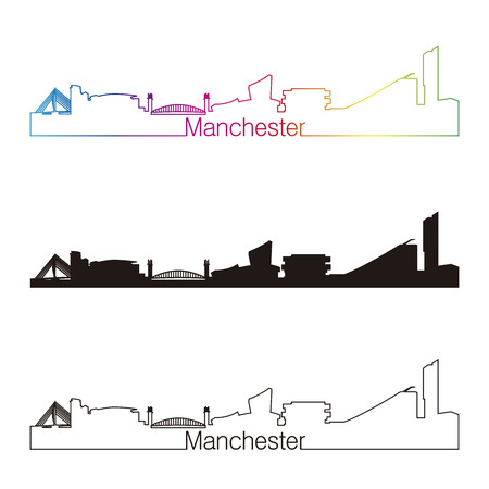manchester: Manchester skyline linear style with rainbow