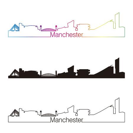 Manchester skyline linear style with rainbow