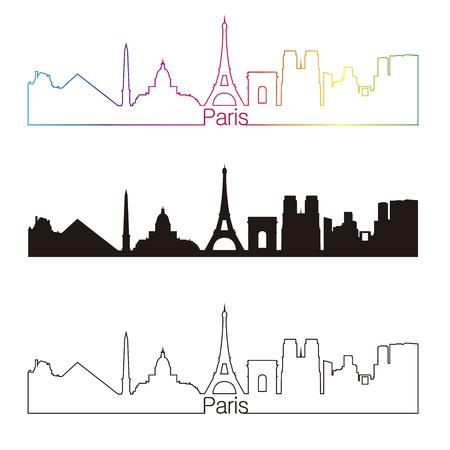 paris skyline: Paris skyline linear style with rainbow