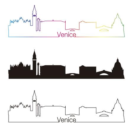 Venice skyline linear style with rainbow