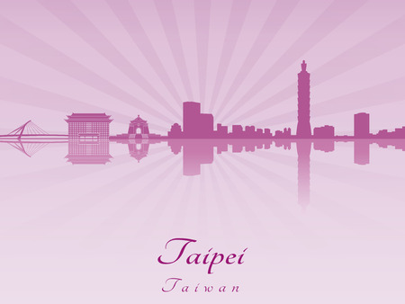 Taipei skyline in purple Vector