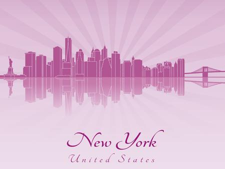new york skyline: New York skyline in purple