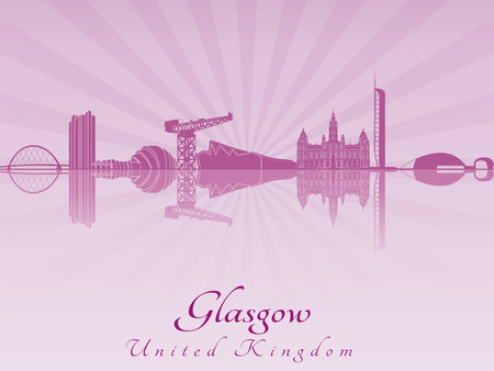 glasgow: Glasgow skyline in purple