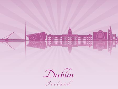 dublin: Dublin skyline in purple Illustration