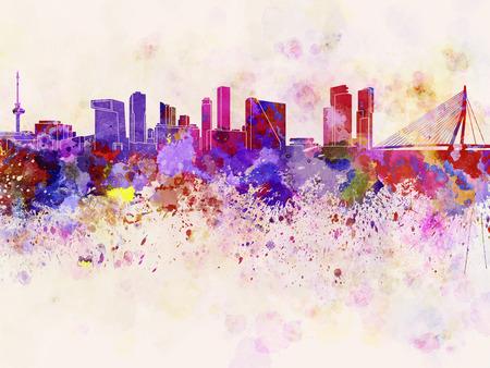 Skyline van Rotterdam op aquarel achtergrond