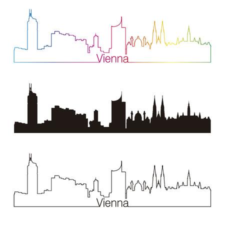 Vienna skyline linear style with rainbow Stock Vector - 26708567