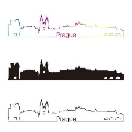 編集可能なベクトル ファイルで虹とプラハ スカイライン直線的なスタイル  イラスト・ベクター素材