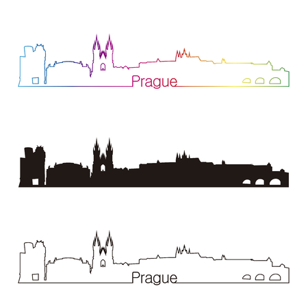 Prague skyline linear style with rainbow in editable vector file