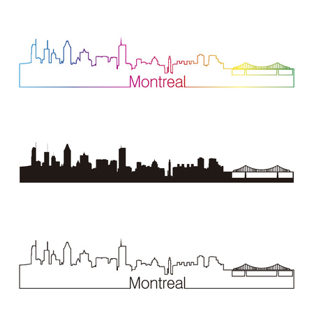 Montreal skyline linear style with rainbow in editable vector file