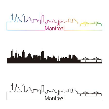 Montreal skyline linear style with rainbow in editable vector file