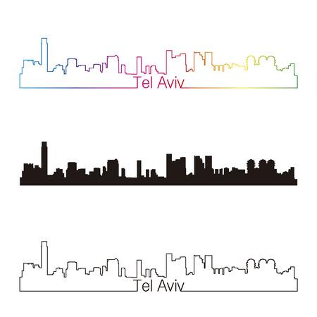Stile lineare orizzonte Tel Aviv con arcobaleno in file vettoriali modificabili