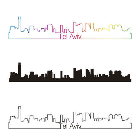 city  buildings: Tel Aviv skyline linear style with rainbow in editable vector file