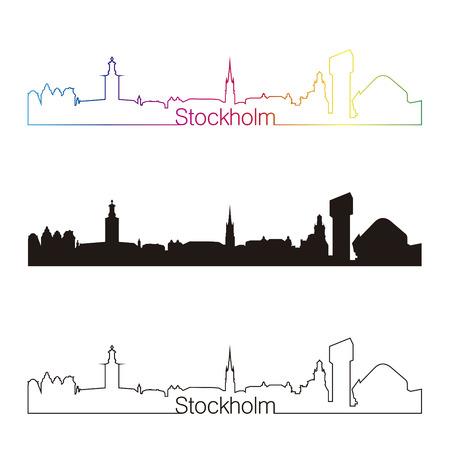 Stockholm skyline linear style with rainbow in editable vector file