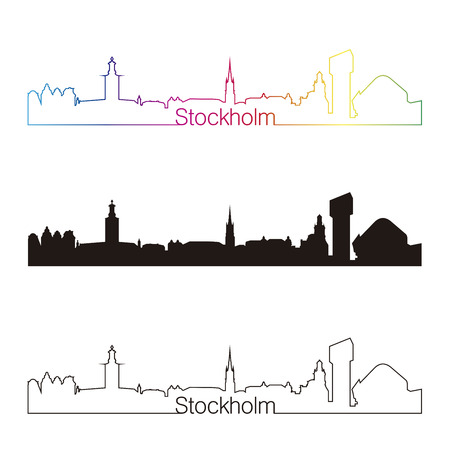 Stockholm skyline linear style with rainbow in editable vector file